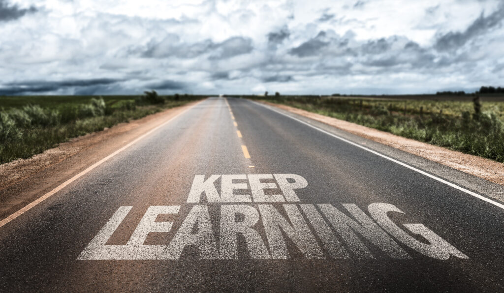 Keep,Learning,Written,On,Rural,Road